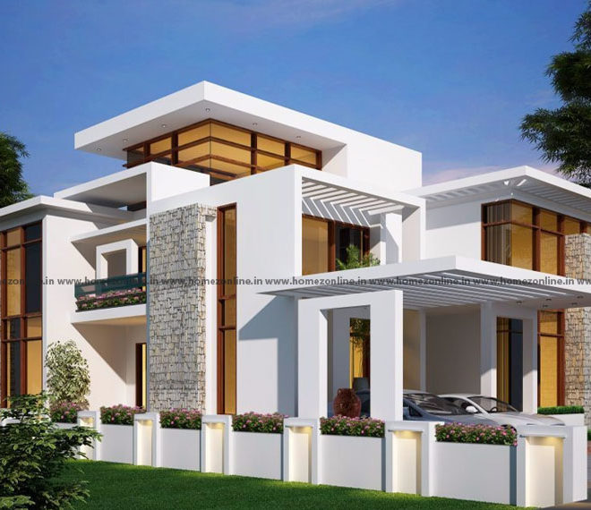 Two floor house elevation on delightful exterior outlook