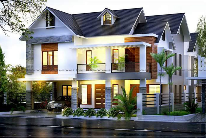 Best home exterior design planed with double storey plan