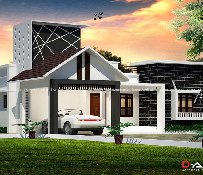 One floor house plan with elegant outdoor front view