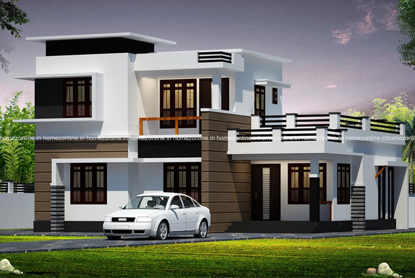 Best Kerala Flat Roof House Design With Amazing Exterior