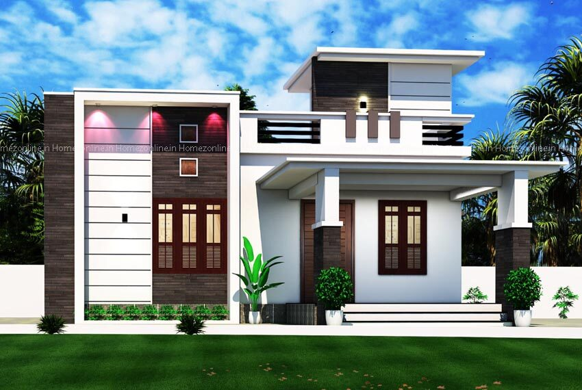 Elegant box type single storey home design