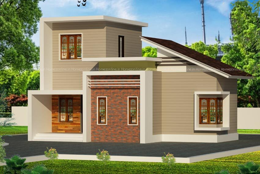 Elegant small home design with modern roof style