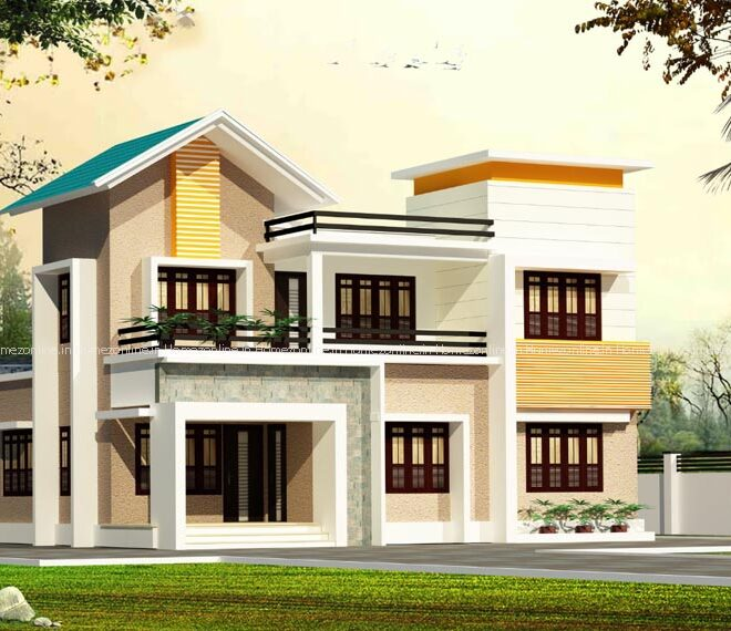 Modern decorative double storey home