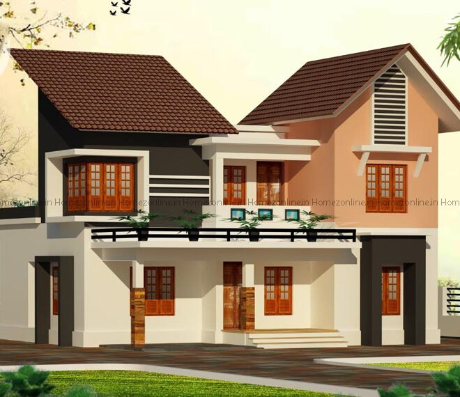 Modern double storey house elevation