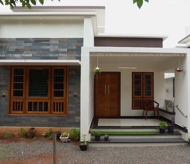 Graceful single floor house built for 14 lakh