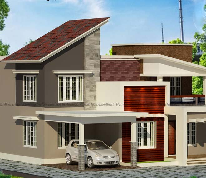 inclined roof home design with stunning decoration