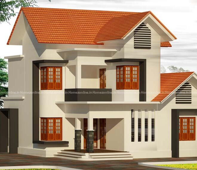 Duplex home on slope roof