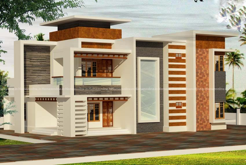 Flat roof home design with alluring exterior