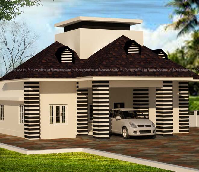 Small home design on temple roof with dormer