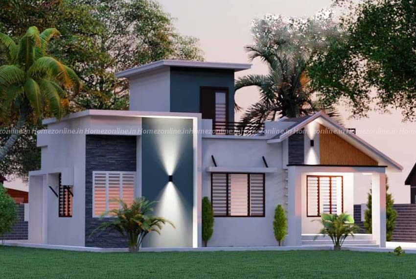 2bhk simple home with enticing exterior