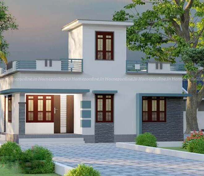750 sq ft home design with box style out door view