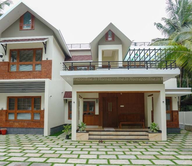4BHK home design with good looking exterior view
