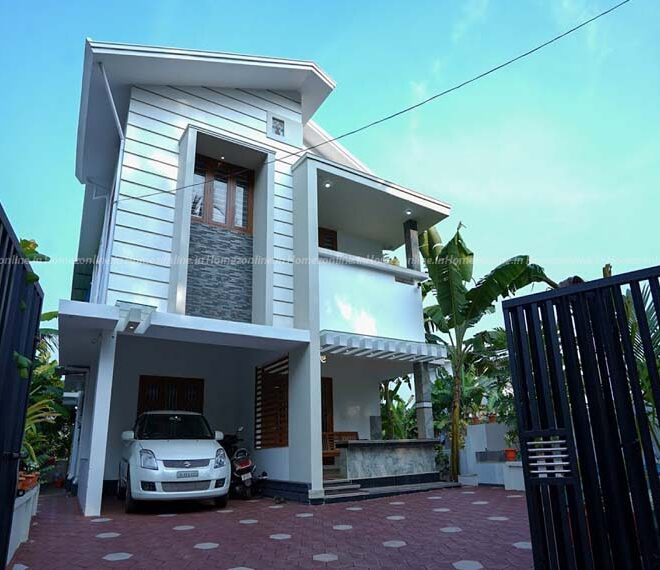 Double storey home with inclined roof