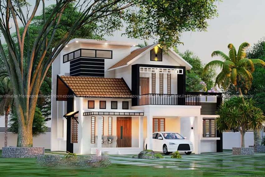 Small duplex home design with luxurious out door view