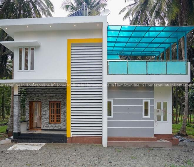 Box style duplex home with beauteous interior design