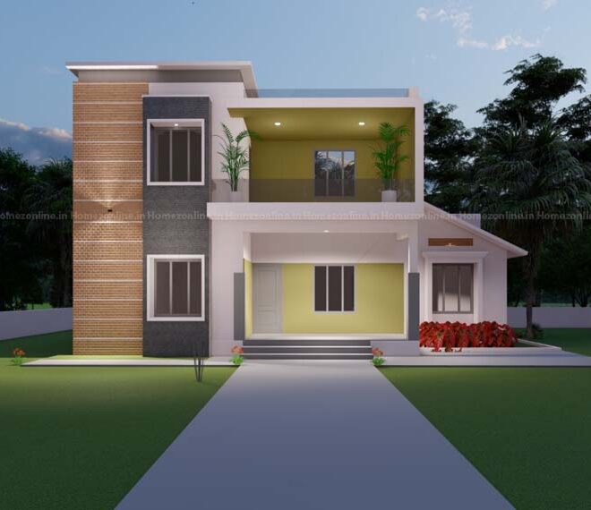 Box style duplex home with minimal exterior