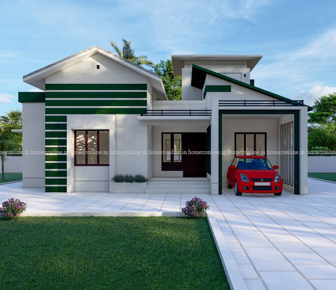 Attractive 2 bhk home design in variety style