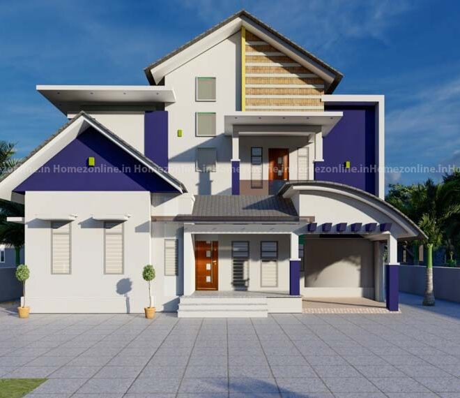 Duplex home with different style roofing
